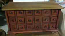 18 Drawer Apothecary, Spice / Jewlery Chest - Distressed Red with Natural Top