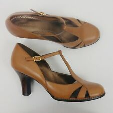 a46e4ee2242 Naturalizer Women s Shoes Size 10N Jupe Tan Brown Leather T-Strap Stacked  Heels