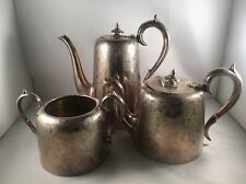 Victorian Silver Plate 3 Piece Tea Coffee Set - Very High Quality Antique!