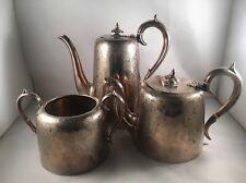 Victorian Silver Plate 3 PEZZI Tè Caffè Set-Antico molto alta qualità!