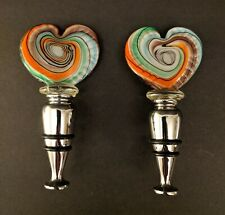 New listing Two Hand Blown Glass Heart Shaped Wine Liquor Bottle Stopper Excellent Condition