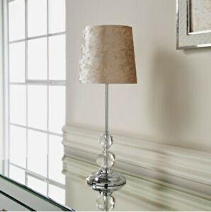 52cm Stunning Luxe Crystal Velvet Table Bedside Lamp With Chrome Base (BEIGE)