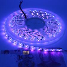 US 5M 12V 5050SMD Waterproof 395 405nm Ultraviolet UV LED Strip Light Black Lamp