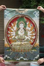 "36"" Tibet Buddhism Silk Cloth 18 Hand Maha Cundi Mother Embroidery Mural Thangka"