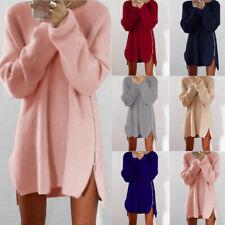 Women Long Sleeve Mini Knit Dress Jumper Tops Loose Casual Zipper Sweater Dress