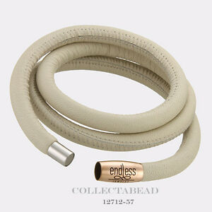 """Authentic Endless Rose Gold Plated NudeTriple Leather Bracelet 8.5"""" 12712-63"""
