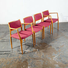 Mid Century Danish Modern Dining Chairs Set 4 Niels J.L Moller #80 Oak Red Arms