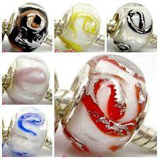 "Fashion ""e"" Foil Lampwork Glass Beads Fit European Charm DIY Bracelet Gift"