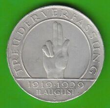 3 Reichsmark 1929 J  Schwurhand nswleipzig