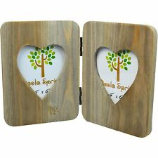 """Wooden Shabby Chic Rustic Driftwood Double Photo Freestanding Picture Frame-4x6"""""""