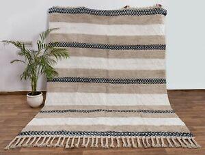 Beige Hand Woven Undyed Cotton Boho Rug Moroccan Decor Nordic Scandinavian.MD-22