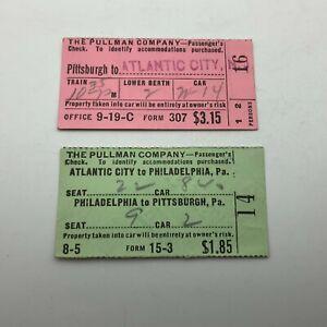 1938 Vtg Lot Pullman Train Car Ticket Check Pittsburgh Atlantic City PHL HTF H1