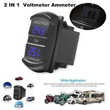 2-in-1 Blue Digital Ammeter Voltage Meter Car Flush Mount Current Voltage Tester