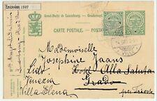 Luxemburg, Ganzsache mit Zusatzfrankatur nach Italien, Venezia 1909 gel.