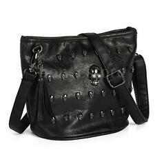 Women Skull Punk Goth Tassel Leather Shoulder Bag Messenger Tote Purse Handbag