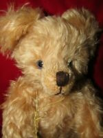 VINTAGE HERMANN TEDDY BEAR METAL BUTTON GERMAN MOHAIR ELIZABETH W RARE BLUE EYES