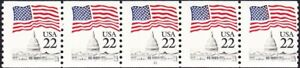 US - 1985 - 22 Cents Flag Over Capitol Dome Coil # 2115 PNC5 - Plate #21 NH F-VF