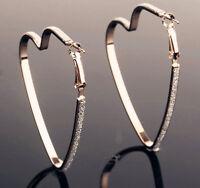 New Heart DK Women'S Fashion Jewelry Crystal UG Hoop Earrings Silver Drop/Dangle