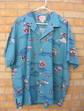Zane Grey  Kahala Hawaiian Fishing Camp Aloha Shirt Teal Green ~ XXL 2XL