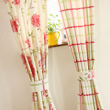 2 PCS Charming Country Style Flower Check Curtain Panel Drape Concealed Tab Top