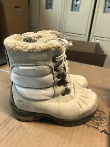 Timberland Girls Waterproof Cream/off white Snow Boots Size 8 Thermolite
