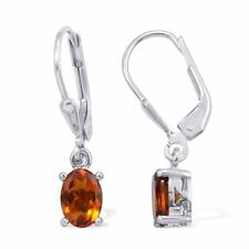 Madeira Citrine Earrings Platinum Plated 925 Sterling Silver = 1.25 Cts.