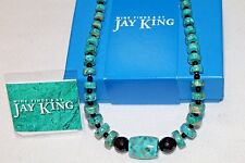 """Jay King DRT Turquoise and Black Agate 18"""" Sterling Silver Necklace"""