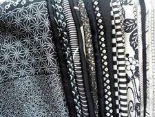 Black Silk Kimono Remnants, Japanese Vintage Fabric Scraps Monotone Set of 23