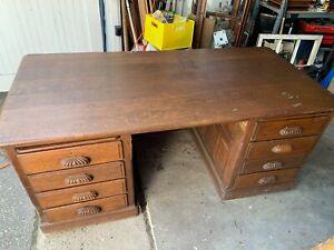Antique large Solid tiger oak desk /display gallery table