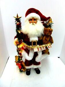 "Karen Didion Originals 20"" Handmade Lighted Musical Santa"
