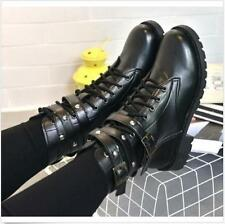 Black Women Military Combat Mid Calf Motorcycle Lace Up Cuban Buckle Strap Shoes