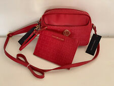 NEW! TOMMY HILFIGER RED LEATHER CROSSBODY SLING BAG W/ WALLET POUCH $85 SALE