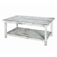"Rustic Country Reclaimed Wood Coffee Table with Shelf - 42"" -  DISTRESSED WHITE"