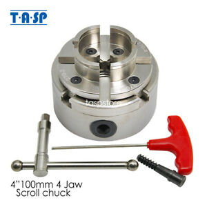 "Wood Lathe Chuck 4-Jaw Self Centering/4"" Scroll Chuck/100mm Chrome Plated"