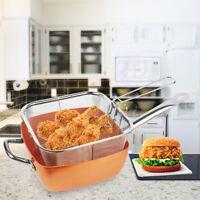 "Non-stick Deep Square Aluminum Frying Pan Set 9.6"" w Lid Fry Basket Steam Shelf"