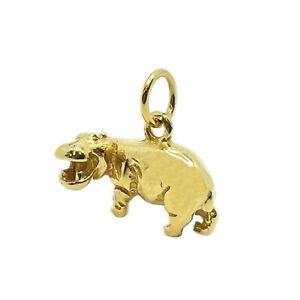 Small 9ct Gold Hippo Pendant