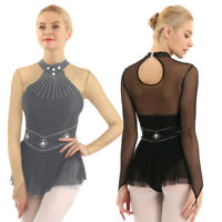 Women Adult Ballet Dance Leotard Dress Long Sleeve Ice Skating Dancewear Costume