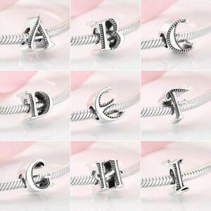 Charms Anhänger für Pandora Armband Armreife Echt Silber 925 Buchstabe A bis Z.