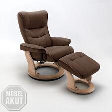 Relaxsessel Montreal Fernsehsessel Sessel mit Hocker Echtleder braun