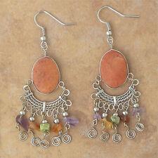 Jasper-Made In Peru Jewelry-Je39 Hand-Crafted Natural Stone Earrings-Orange