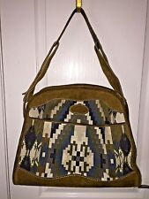 """VTG FRENCH LUGGAGE CO. """"AZTEC SOUTHWESTERN DESIGN"""" SUEDE & TAPESTRY LARGE TOTE"""