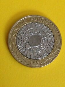 1998 Standing on the Shoulders of Giants £2 Coin - Rare. 2 Minting Errors