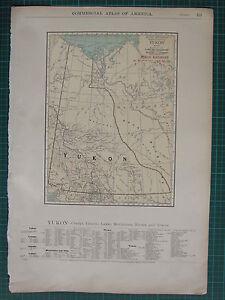 1922 LARGE AMERICA MAP ~ YUKON RAILROAD CREEKS ISLANDS LAKES RIVERS RAND MCNALLY