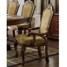 Napa Valley Set of 2 Formal Dining Arm Chairs Fabric Seating Carved Cherry Wood