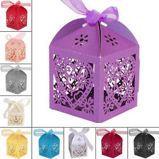 50/100PCS Luxury Wedding Favours Favor Boxes Love Heart Sweet Candy Boxes Laser