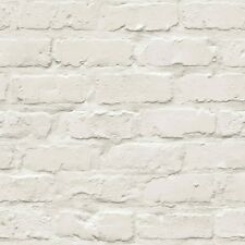 Realistic 3D Painted Brick Effect Wallpaper White/Cream A10402 Free Postage