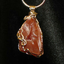 Druzy Carnelian wire wrap sp snake chain necklace natural stone pendant #501