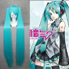 Straight Green Blue Vocaloid-hatsune miku Cosplay wig+2 Clip On Ponytail