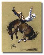 Rodeo Cowboy Riding Wild Bronco Wall Art Print Picture 16x20 By Carolyn Cheney