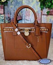 NWT MICHAEL KORS HAMILTON TRAVELER STUD LG. Satchel Tote Bag LUGGAGE Leather$498